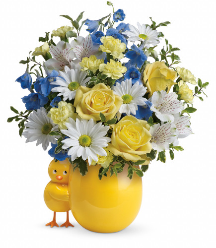 Sweet Peep in Blue New Baby Chick Flower Bouquet from Enchanted Florist. Surprise them with this bouquet of stunning yellow roses, white alstroemeria, miniature light yellow carnations, blue delphinium, white daisy mums and various greenery. It will be hand delivered in the happy chick keepsake.  SKU RM322