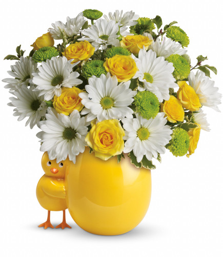 My Little Chickadee Flower Bouquet from Enchanted Florist. Cheerful yellow roses and spray roses, white daisy spray mums and bright green button spray mums fill a brilliant ceramic vase. Another star is born! SKU RM323