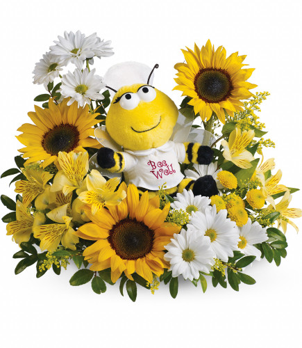 Bumble Bee Well Soon Nurse Bouquet of Flowers from Enchanted Florist. This cute plush nurse bee is ready to buzz into service with enough fresh flowers to make anyone perk up. And there's nothing happier than cheerful sunflowers. A plush bumble bee surrounded by sunny yellow sunflowers, yellow button chrysanthemums, white alstroemeria, yellow buttons and white daisies mums. SKU RM175