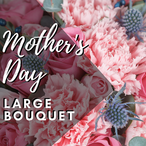 Pink Mother's Day Bouquet from Enchanted Florist.  Our designers will create a beautiful spring bouquet with lots of pinks in a vase for Mother's Day. The bouquet will be arranged in a vase and filled with seasonal spring flowers.