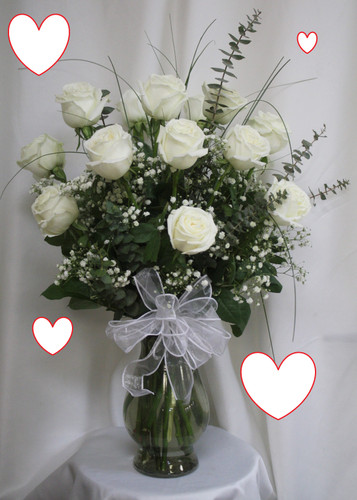 """One Dozen White Roses Most Popular for Valentines Day by Enchanted Florist. This is our most popular and best value for Valentines Day for one dozen white roses. The freshest premium white roses will be hand designed in our upgraded Bella vase, with popular baby's breath, upgraded premium greenery, a Valentines Day white bow and a romantic heart to show your love. Approximately 18""""W x 22""""H SKU RM953"""