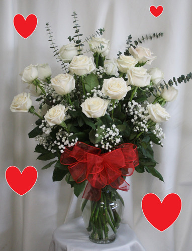 """Two Dozen WHITE Roses for Valentine's Day by Enchanted Florist Pasadena TX. This show stopping bouquets of our lush and classic white roses comes complete with baby's breath, greens and a bow and is hand arranged by our premier floral designers. STANDARD Option in pictured with 24 white roses. The Deluxe Option will have 27 white roses and the Premium Option will have 30 white roses.  Approximately 26""""H x 16""""W   SKU RM958"""