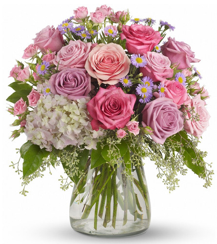 """My Shining Light Pink Rose Bouquet from Enchanted Florist Pasadena TX. Lavender and pink flowers such as roses, hydrangea, monte cassino asters, eucalyptus and salal are arranged in a clear glass vase. Approximately 16"""" W x 17"""" H. For local delivery only. SKU RM116"""