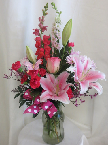 Pink Abigail Stargazer Lily and Rose Bouquet by Enchanted Florist Pasadena TX - Serving Houston Texas and surrounding areas for over 30 years. Daily delivery available. RM112