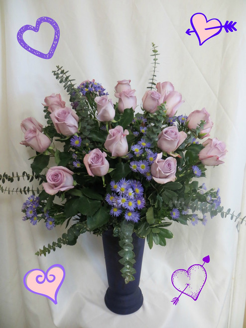 Two dozen beautiful purple roses will surely impress her! When you need a BIG romantic gesture, or just want to spoil her rotten, our two dozen purple roses are THE way to do it.  Includes this high quality upgrade purple vase she can use over and over. A must for the purple lover in you life on Valentines Day. RM 914