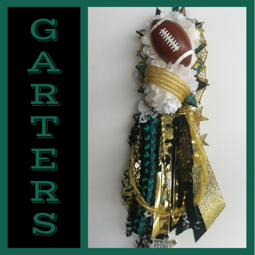 The Double Deluxe Memorial High School Homecoming Garter from Enchanted Florist includes a single garter flower, trinkets, spiral chain, the Military braid, and garter band in the school colors of your choice.  HMC137