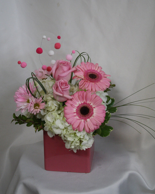 """Pink Dew Drops White Hydrangea and Pink Roses from Enchanted Florist. A beautiful bouquet of pink and white flowers, such a fun arrangement.  This bouquet arrives in a pink ceramic cube and includes white hydrangeas, pink roses, pink gerbera daisies, pink dyed daisy poms, bear grass and is accented with fun pink and white alien balls on a pick. SKU 183 Approximately 13""""H x 11""""W"""
