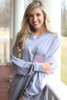 Ginny Marie's Monogrammed Spirit Tee | Lasting Love | Heathered Gray with Pink Seersucker {AVAILABLE IN SIZE 2XL}