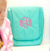 Monogrammed Hanging Cosmetic Bag in Mint