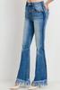 Long Fray Hem Flare Denim Jeans