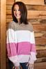 Multi Color Block Sweater | Pink
