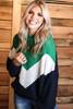 Color Block Zig Zag Sweater | Green
