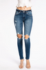 The Ansley Jean | Distressed Knee Dark Wash Jeans