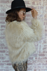 Paris Luxury Faux Fur Long Sleeve Jacket | Cream