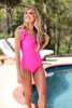One Piece One Shoulder Swim in Hot Pink available in Macon, GA & Marietta, GA