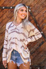 Long sleeve tiger print neutral sweater