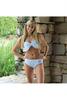 Monogrammed Seersucker Bow Bikini   Aqua