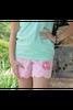 Monogrammed Ellieo Pink Seersucker Scalloped Shorts