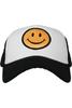 Smiley Face Trucker Hat | Black & White