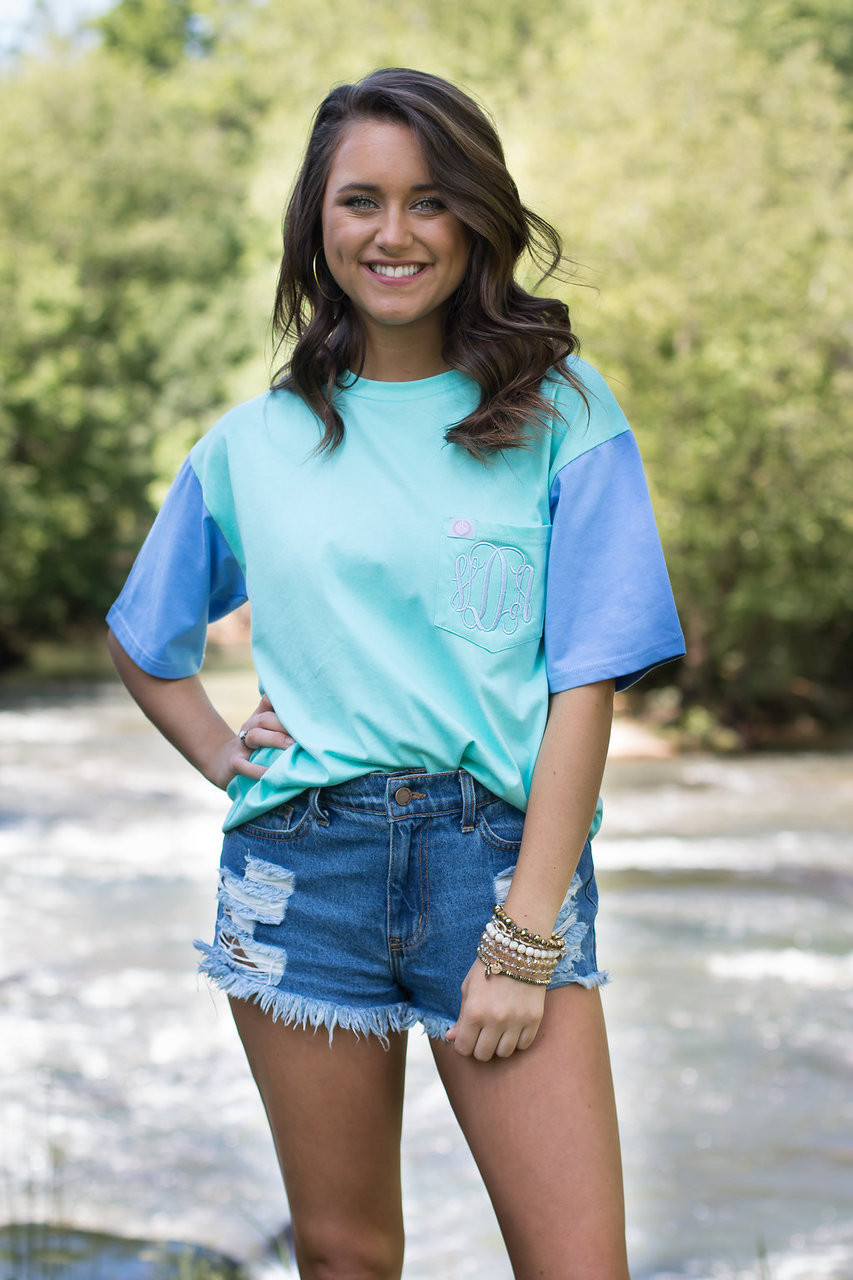 Monogrammed Ginny Marie Color Block Tee Mint Periwinkle Ginny