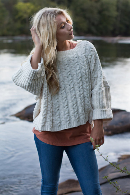 Free Bird | Oversized Cable Knit Sweater | 2 Colors