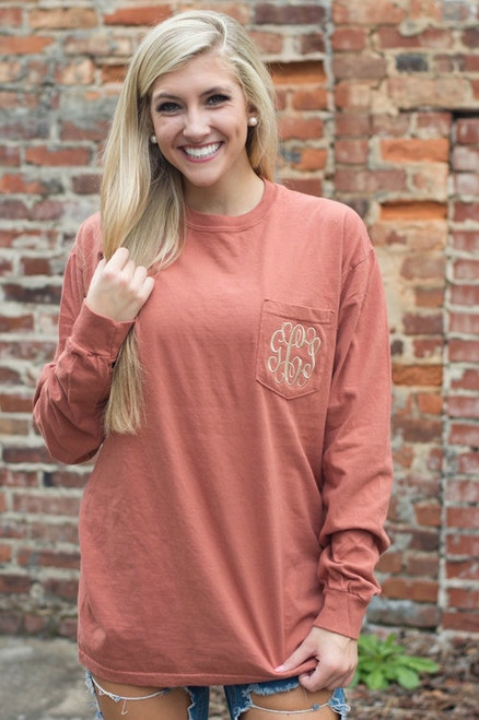Monogrammed Comfort Colors Pocket Tee | Long Sleeve | Copper