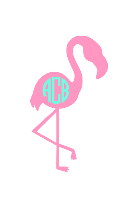 "4"" Monogram Flamingo Decal"