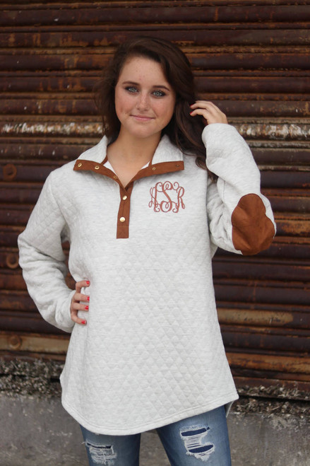 Monogrammed Quilted Pullover