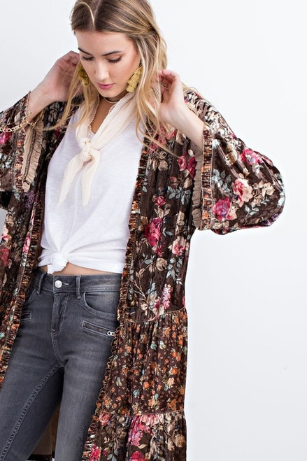 Floral Suede Kimono