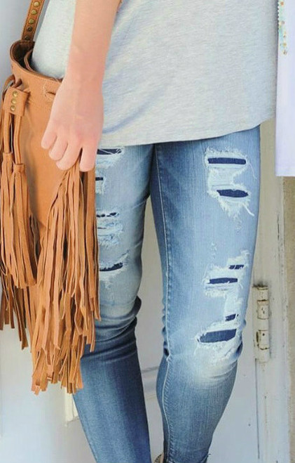 Lucky Girl   Distressed Skinnies
