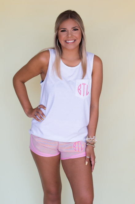 Monogrammed Comfort Colors Pocket Tank | White