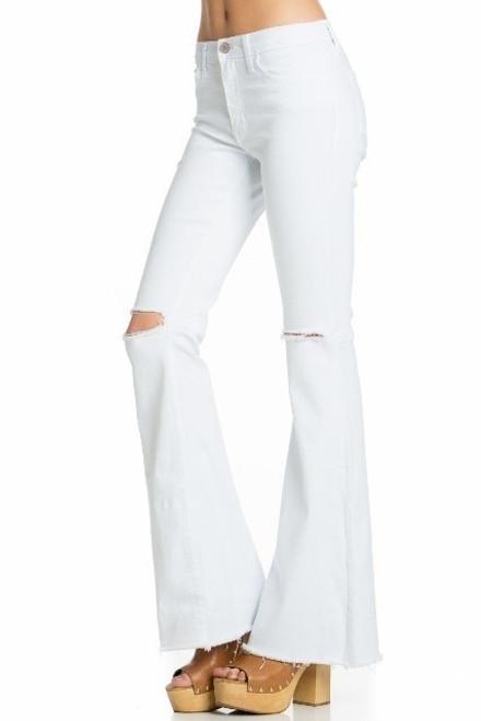 O2 Denim Flares   White Distressed Knee