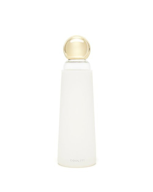 Bando Deluxe Cool It! Glass Water Bottle | White/Metallic Gold