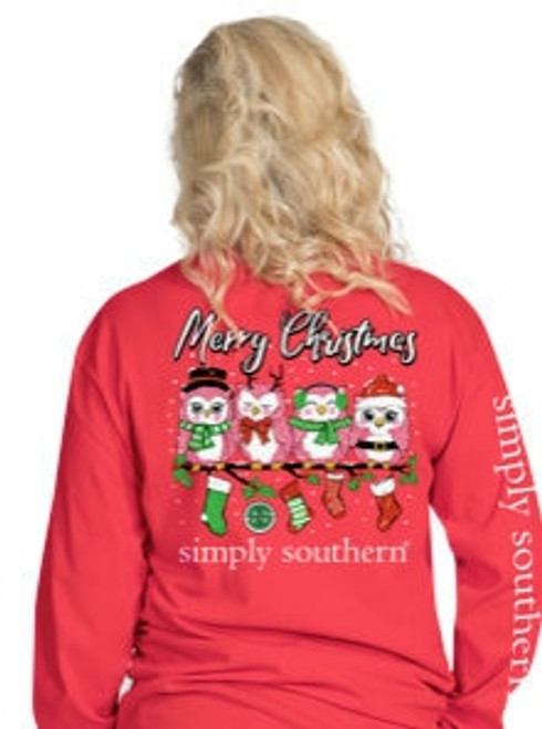 Simply Southern | YOUTH| Merry Christmas Owl | Red