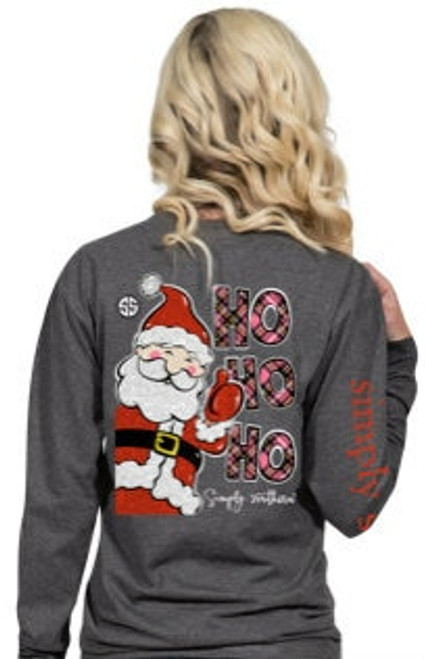 Simply Southern | HO HO HO + Santa | Dark Heather Gray