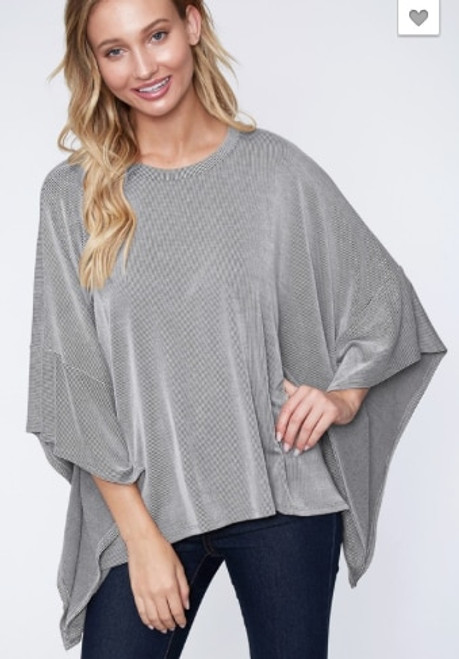 The Rachel | Striped Poncho Top