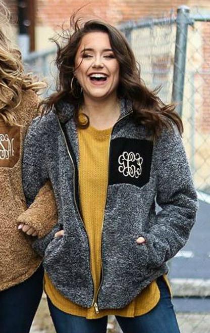 Monogrammed Sherpa Fleece Jacket  | Black