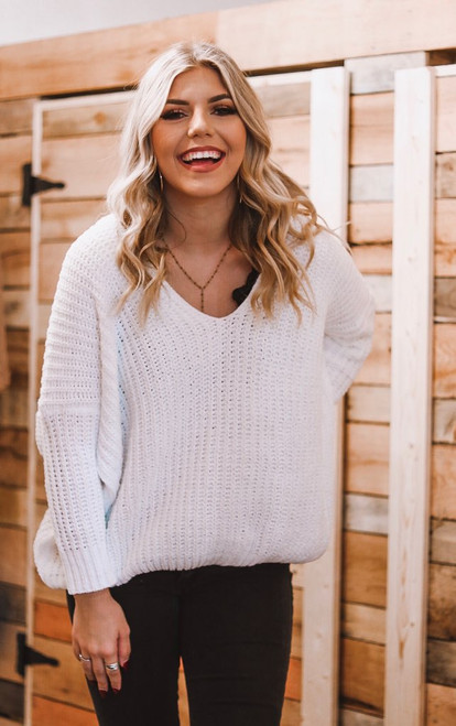 Simplicity is Key | V-neck Sweater | White