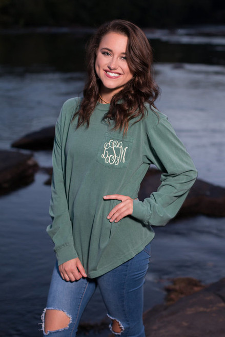 Monogrammed Comfort Colors Pocket Tee | Long Sleeve |  Light Green