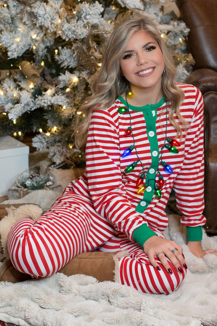 Monogrammed Holly Jolly One Piece Jammies | Red Stripe | Adult