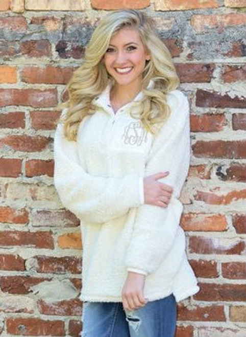 Monogrammed Original Sherpa Pullover | Ivory
