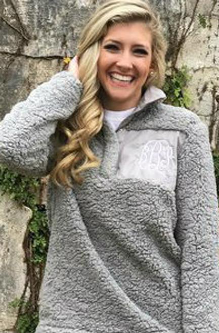 Monogrammed Original Sherpa Pullover | Gray
