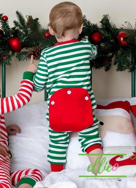 Monogrammed One-Piece Jammies   Green Stripe   Baby & Kiddo