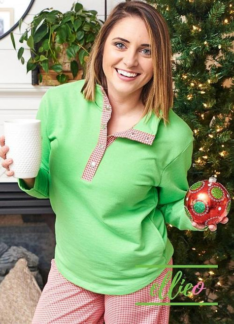 Monogrammed Pullover | Green with Red Gingham