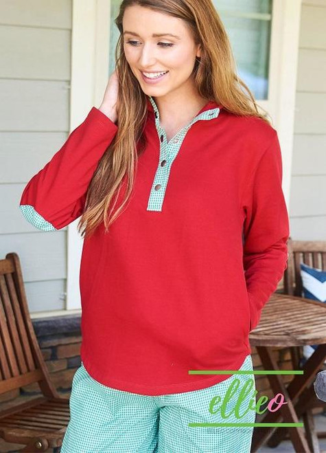 Monogrammed Pullover | Red with Green Gingham