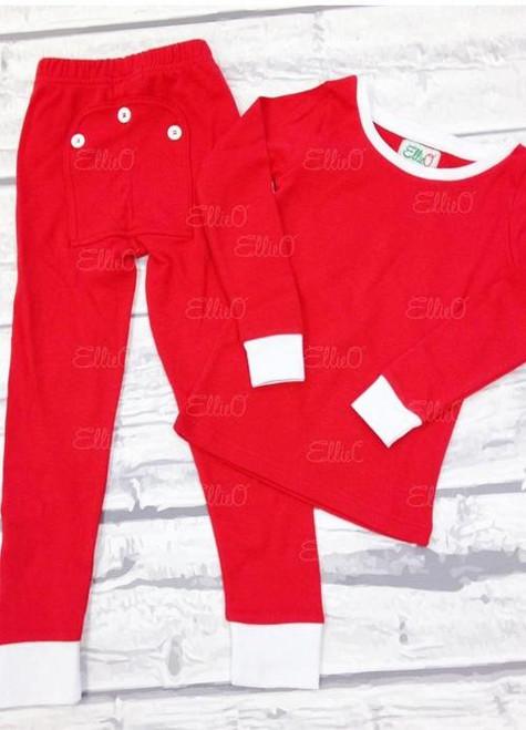 Monogrammed Kiddo Jammies | Solid Red