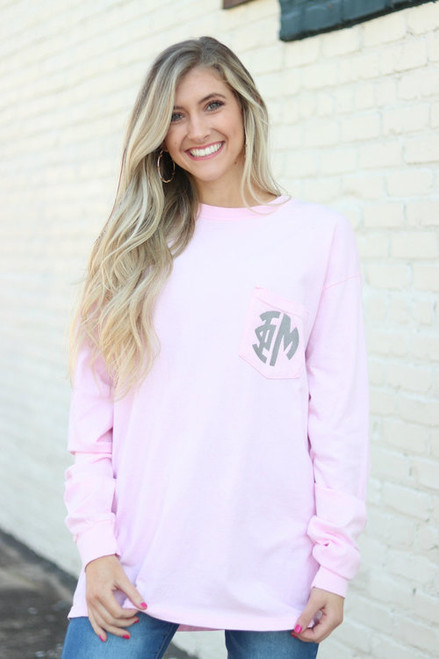 Monogrammed Comfort Colors Pocket Tee | Long Sleeve | Blossom