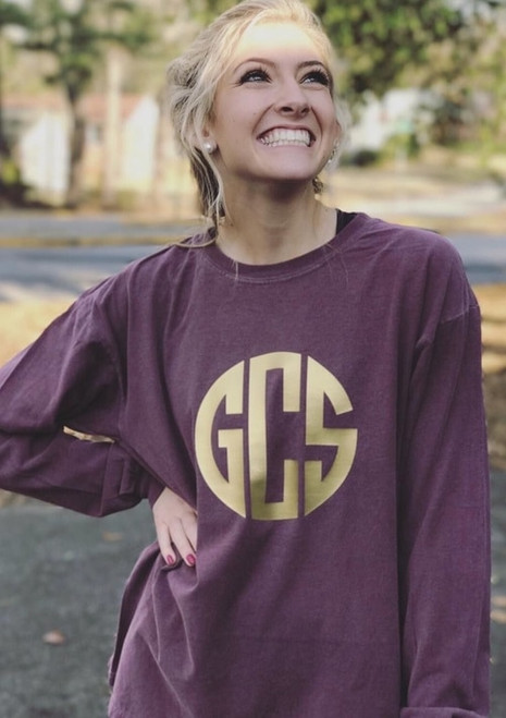 Monogrammed Comfort Colors Tee | Long Sleeve | Berry & Gold