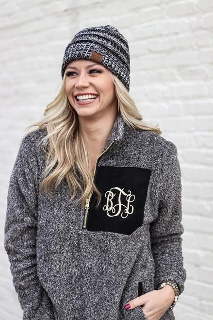 Monogrammed Sherpa Fleece Pullover & Beanie Set