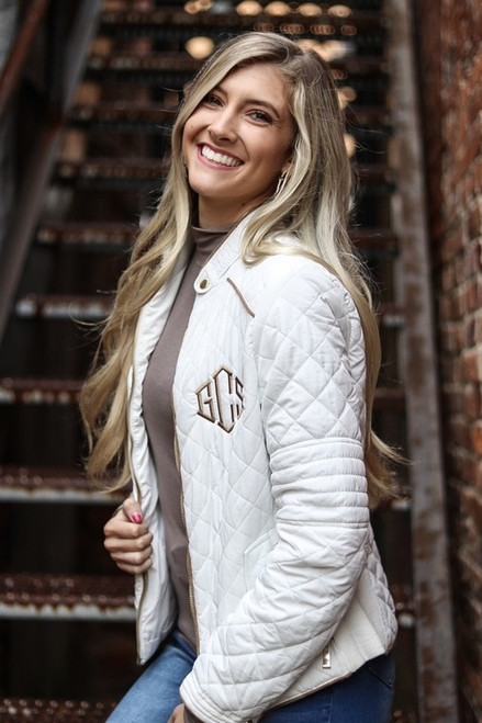 (S-M) Monogrammed Quilted Jacket | 4 Colors